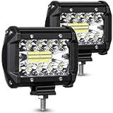 AMBOTHER LED Pods Light Bar 4-Inch 120-watt 12800-lumen Driving Fog Off Road Lights Triple Row Waterproof Spot Flood…