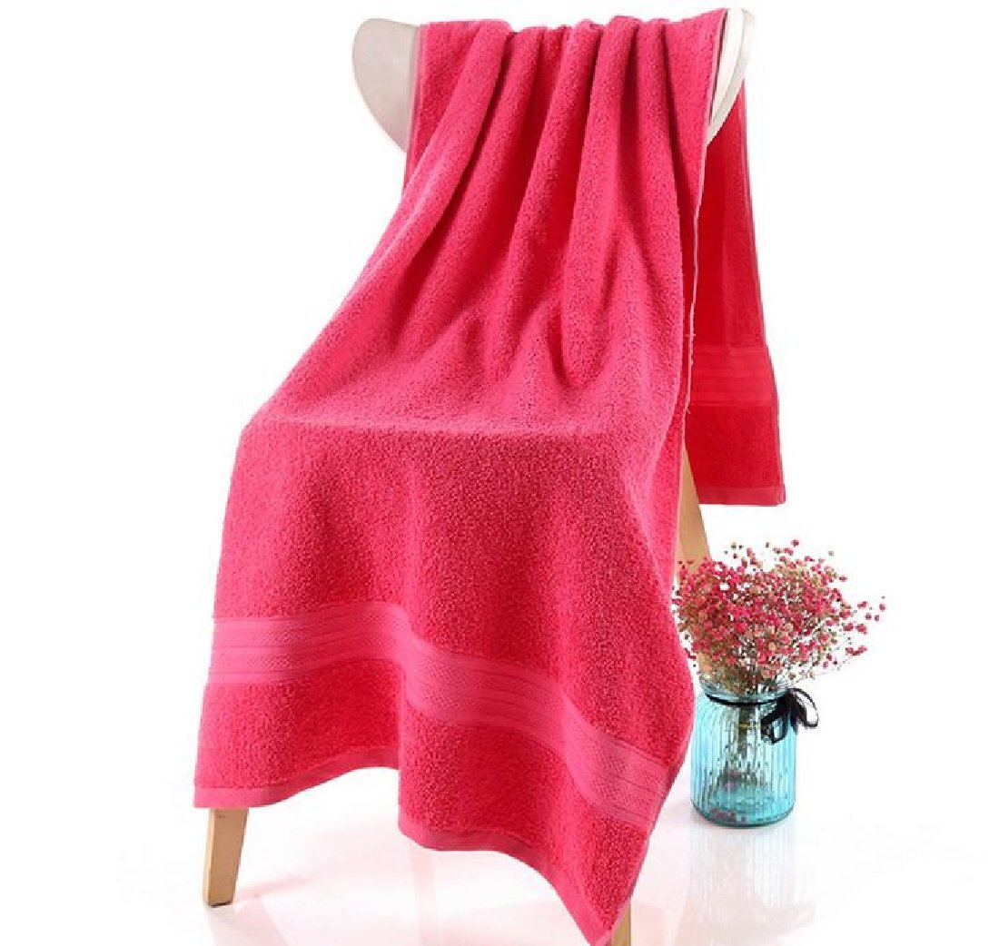 Fieer Everyday Plain Contrast Eco-Friendly Highly Absorbent Lightweight Oversized Quick Drying Cotton Antibacterial Quality Cute Contenta Bath Beach Spa and Fitness Towel Rose Red 15075