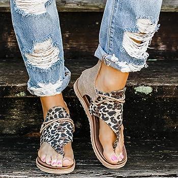 Sandals for Women Flat,Comfy Sandals Ladies Fashion Leopard//Zebra//Snake Pattern Flat Heel Slip On Sandals with Zipper