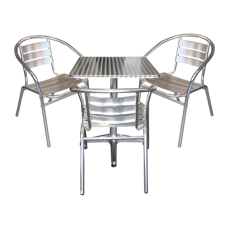 4tlg terrassenm bel balkonm bel bistro set 3x aluminium bistrostuhl stapelstuhl bistrotisch. Black Bedroom Furniture Sets. Home Design Ideas