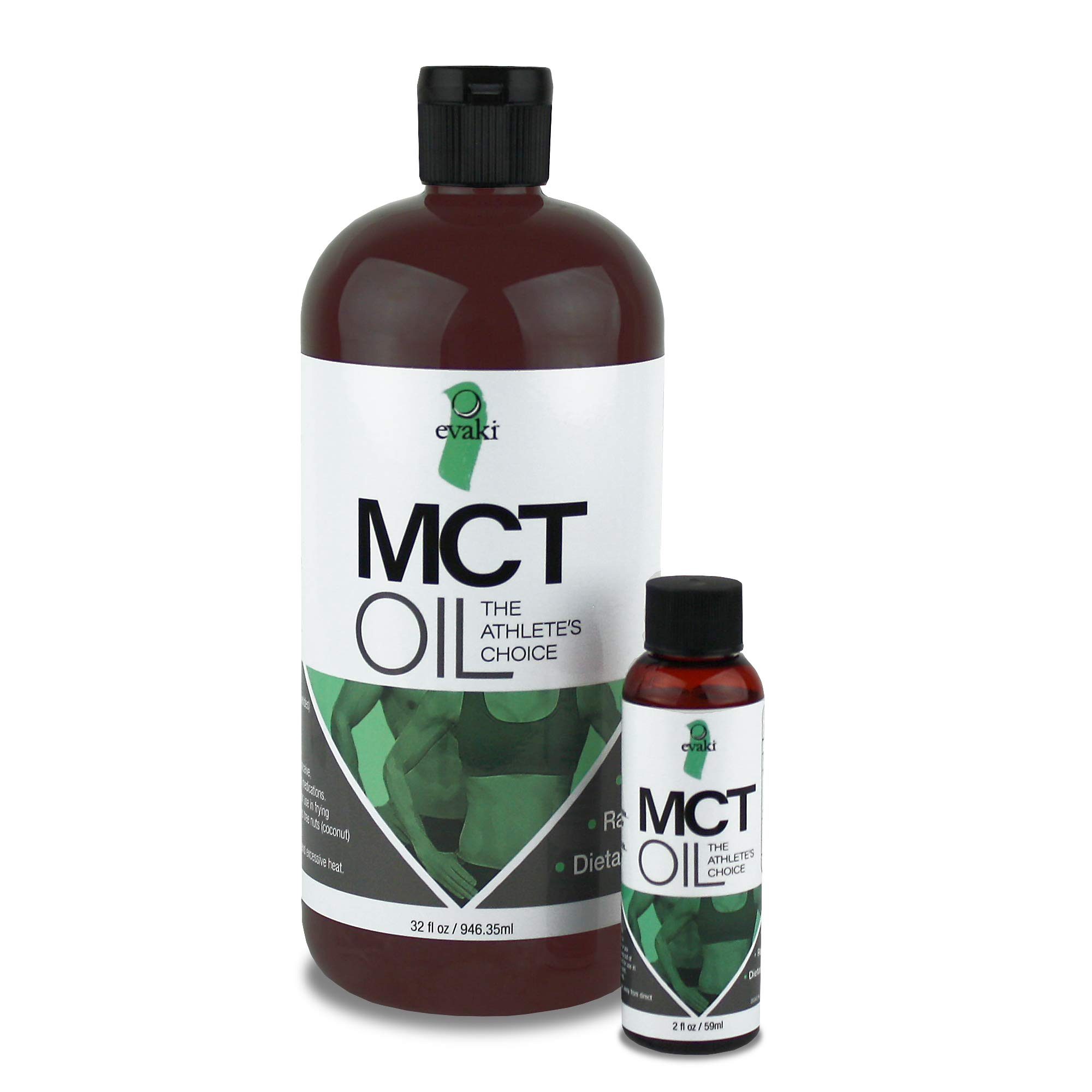 Evaki Premium MCT Oil – Big 32oz & Filled 2oz Travel Bottle, Keto Diet Friendly, Daily Supplement Packed with C8 and C10, All-Day Natural Energy.