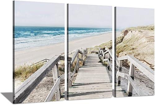 Seascape Artwork Coastline Pier Picture: Wooden Boardwalk on Beach Sea Bridge at Sunrise Photographic Print on Wrapped Canva