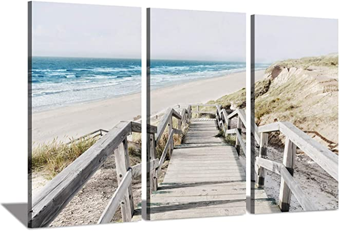 Amazon Com Seascape Artwork Coastline Pier Picture Wooden Boardwalk On Beach Sea Bridge At Sunrise Photographic Print On Wrapped Canvas For Wall Art Posters Prints