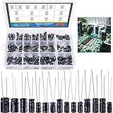Glarks 300Pcs 15 Value 0.1uF - 470uF Electrolytic Capacitors Assortment Kit