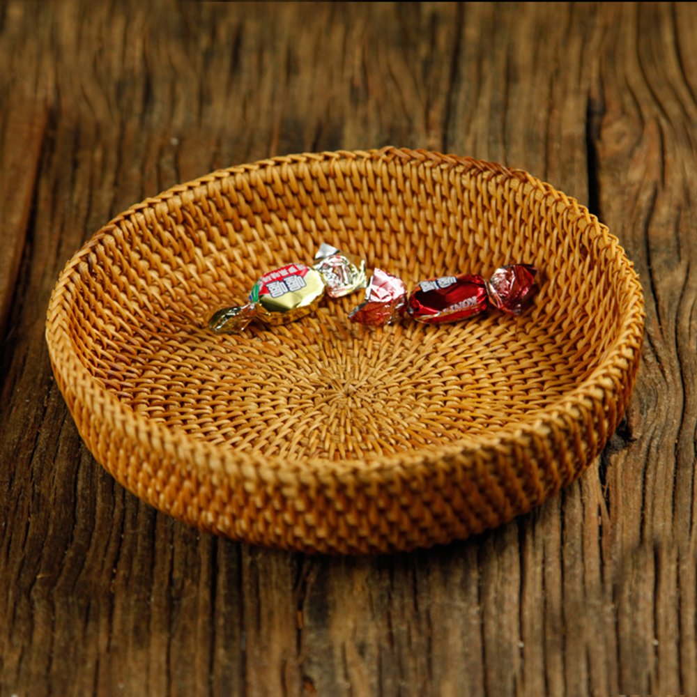 100% Handmade Weaved Storage Bin Fruit Basket Rattan Hamper Wicker Tray Weaving Rack Holder Dining Room Small Container Box Natural Decor Serving Handcrafted Bowl Organizer Serving Snack Dish Display by yaku (Image #8)