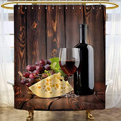 Anhounine Wine Shower Curtain Collection By Red Cabernet Bottle And Glass Cheese Grapes On