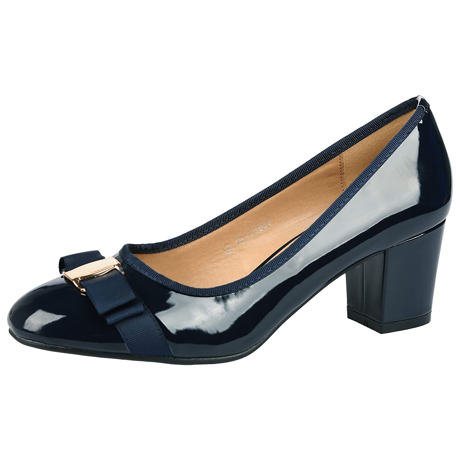 official wholesale price get cheap ByPublicDemand Cherie Womens Mid Heel Bow Detail Slip On Court Shoes (UK 9,  Navy Blue Patent)