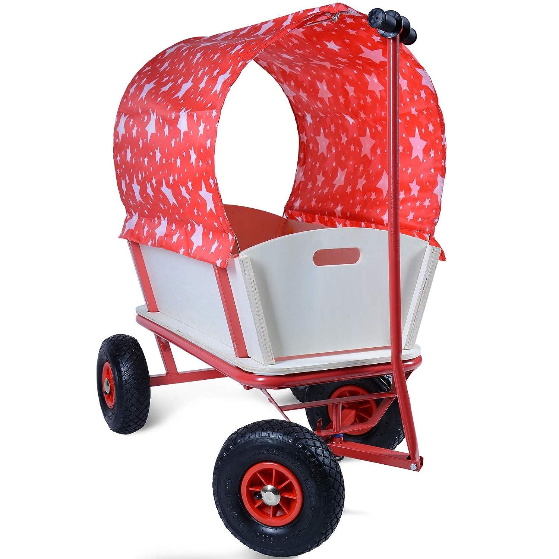 Vagoneta Playa 150kg Carrito de Jardin/| con Ruedas y Techo Carretilla con Techo Rojo con Estrellas/| Carro Jardiner/ía M/áx 92x61x98cm