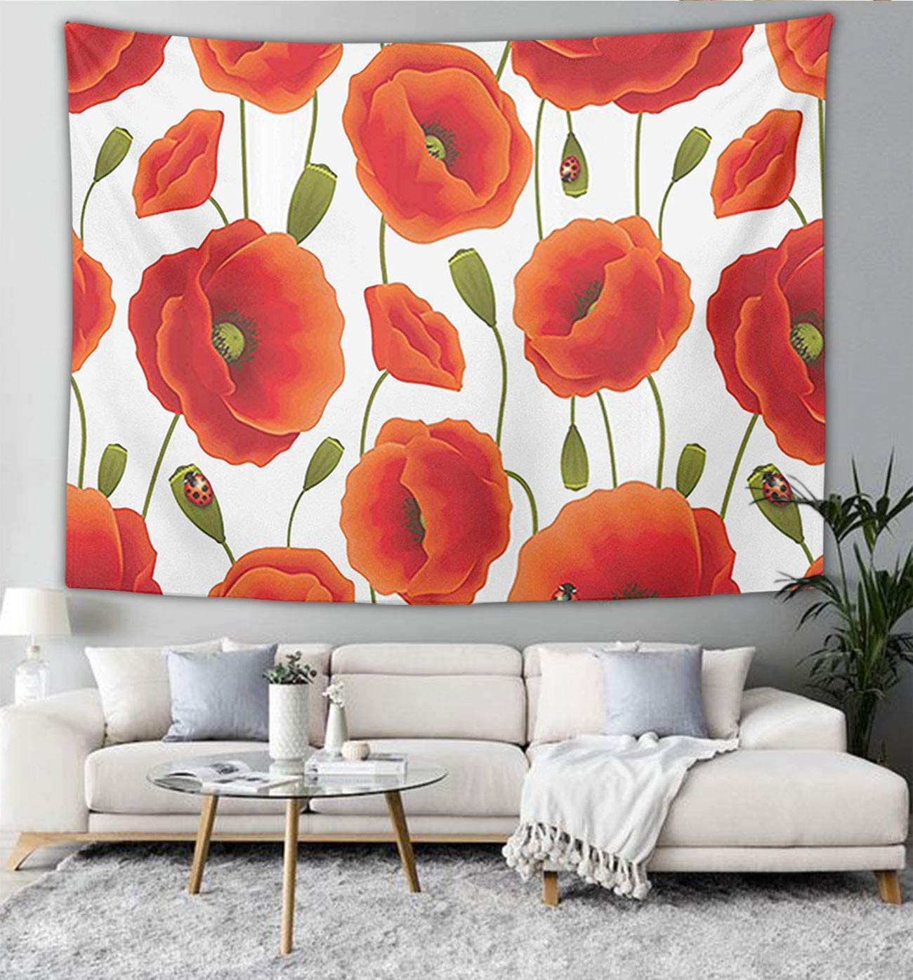 NiYoung Floral Pattern of Poppy Flowers Wall Hanging, Psychedelic Wall Art, Dorm D¡§ cor Beach Throw, Indian Wall Tapestries Art 60 x 70 Inches