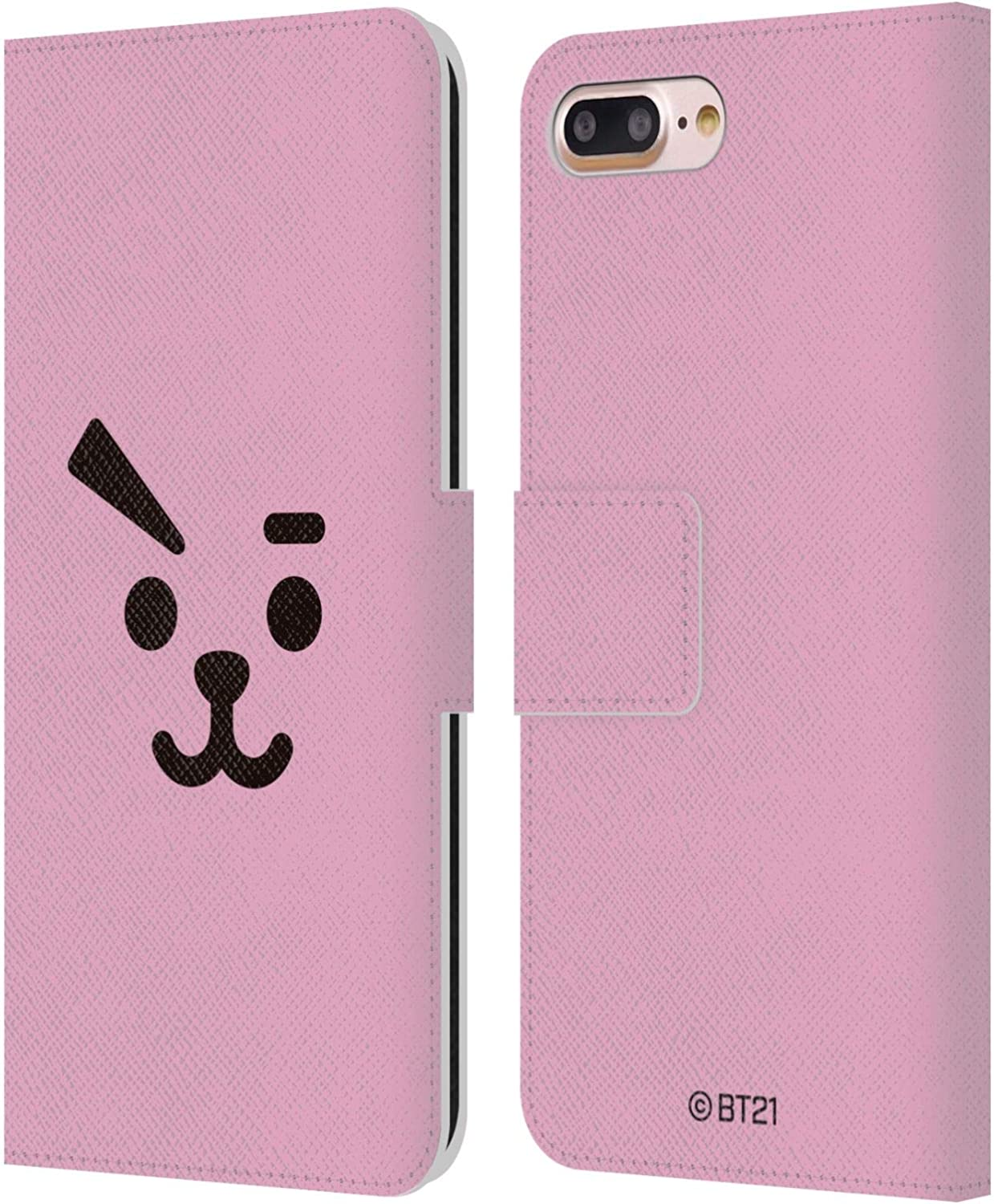 Head Case Designs Officially Licensed BT21 Line Friends Cooky Basic Faces Leather Book Wallet Case Cover Compatible with Apple iPhone 7 Plus/iPhone 8 Plus