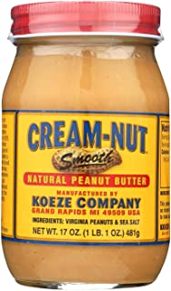 product image for CREAM NUT, Pnut Btr, Smooth, Natural, Pack of 6, Size 17 OZ, (Dairy Free Gluten Free Kosher Wheat Free Yeast Free)