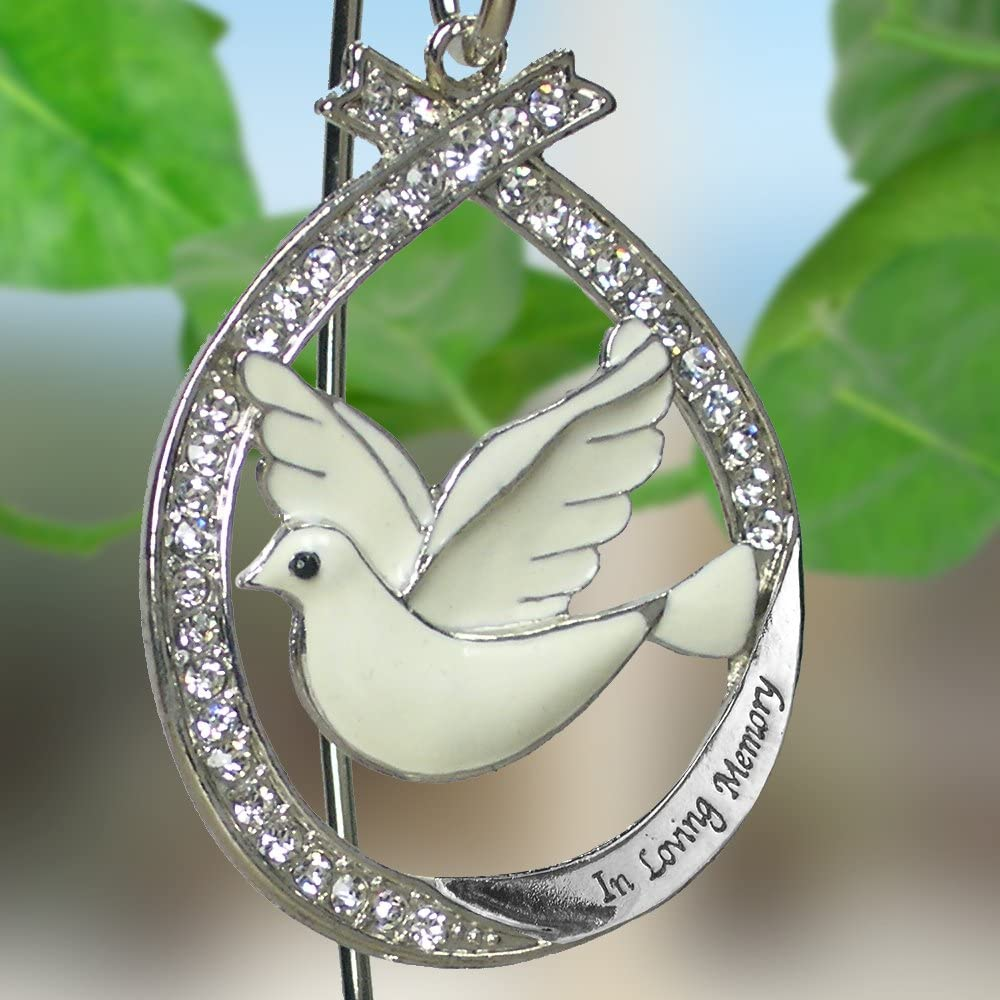 In Loving Memory Ornament With White Dove Jeweled Accents Banberry Designs 2474