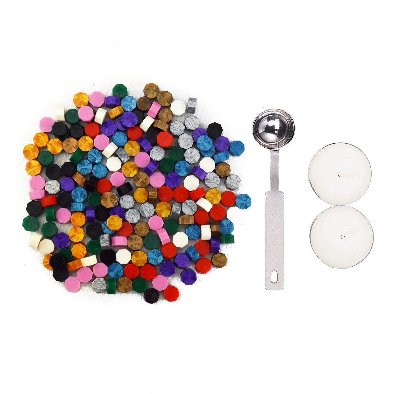 Esnow European Retro Sealing Cera Perlas 180 Piezas con 1 Pieza Cuchara de fusión de cera y 2 piezas Velas 10 colores