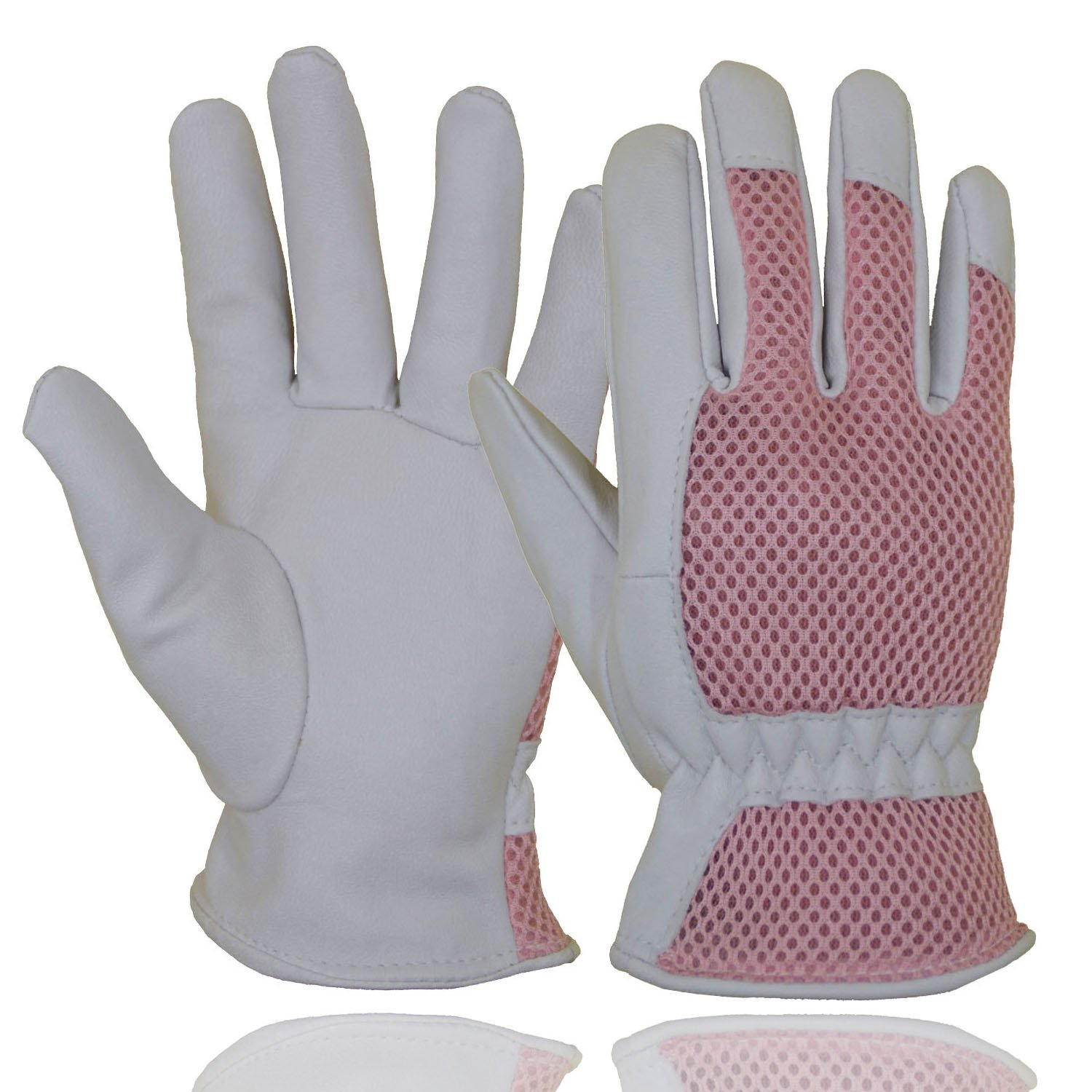 Goatskin Leather Gardening Gloves Women, 3D Mesh Comfort Fit- Improves Dexterity and Breathability Design, Scratch Resistance Garden Working Gloves for Vegetable or Pruning Roses (Small/Pink)