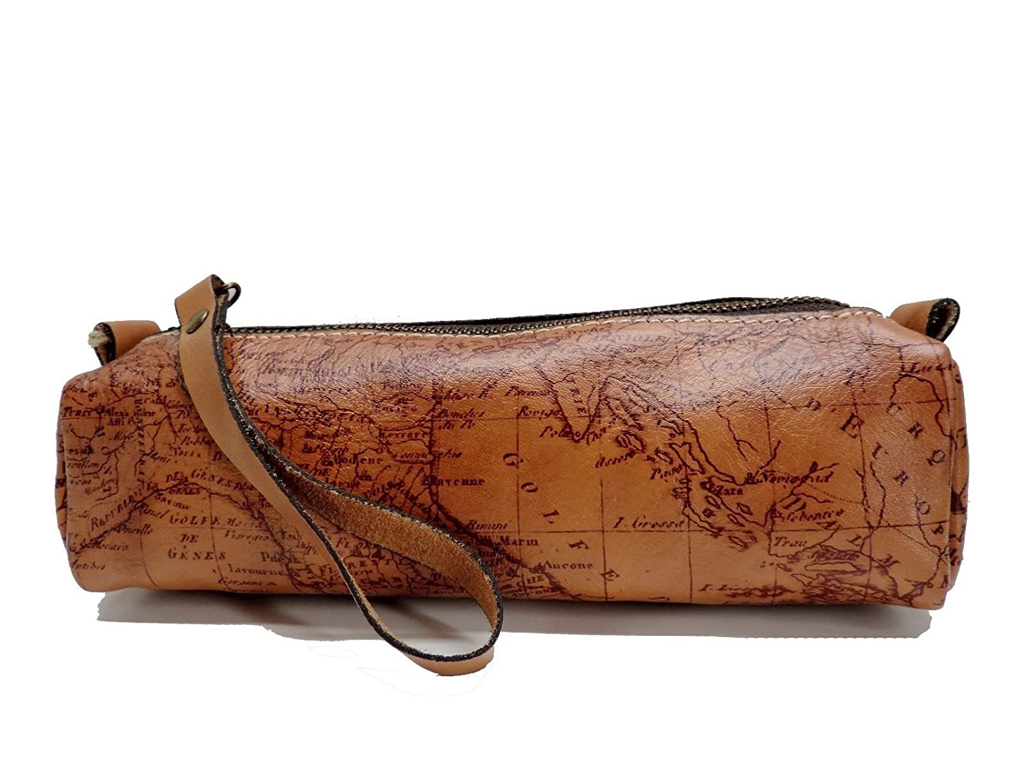 Patricia Nash Isla Oblong Cosmetic Case Bag Riot Rust Map
