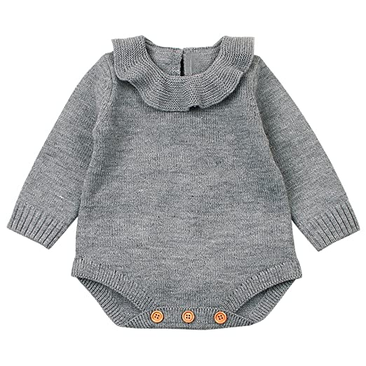 Bokeley Newborn Baby Clothes Boy Girl Weave Romper Knitted Jumpsuit Outfits