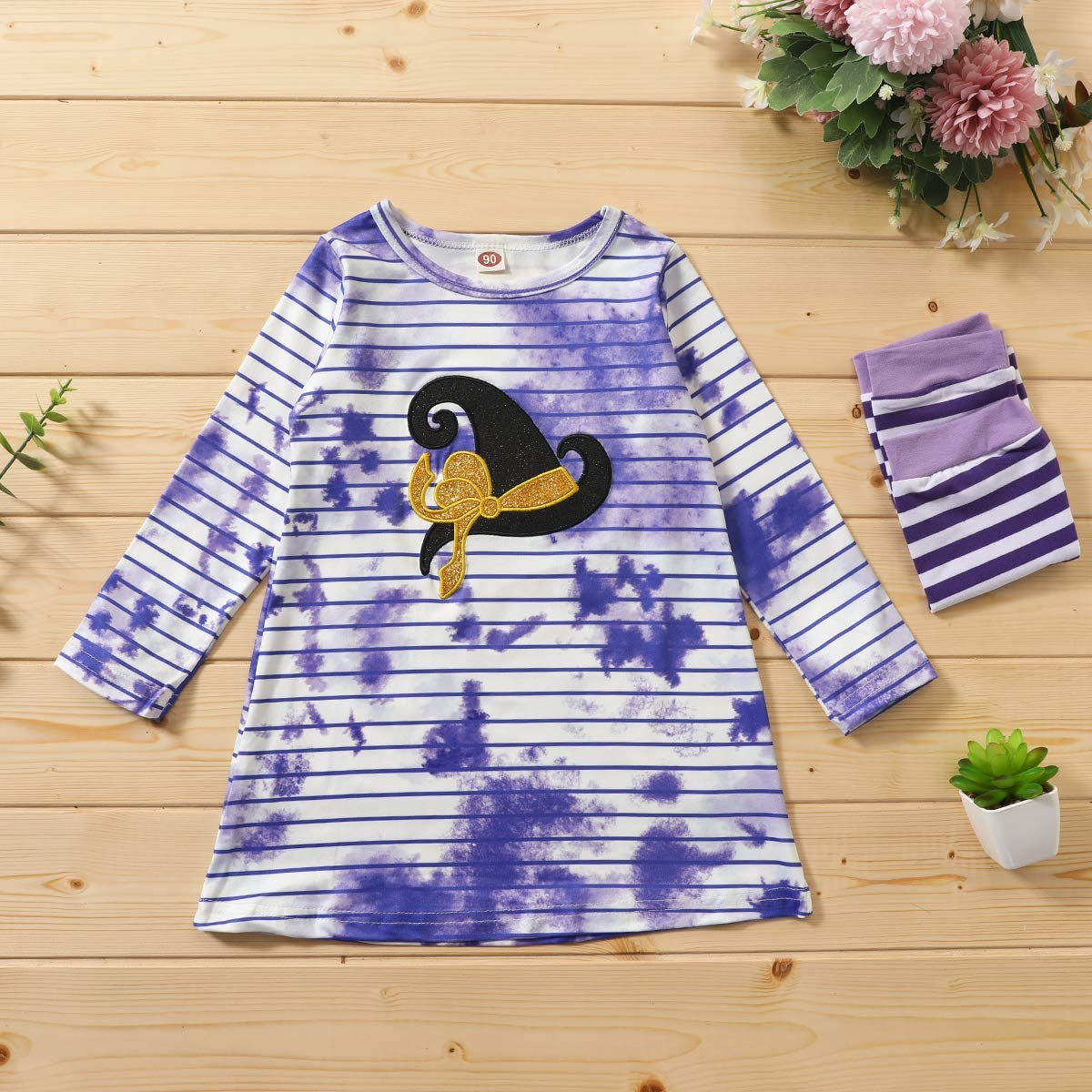 Sasaerucure Toddler Kids Baby Girls Halloween Dress Long Sleeve Tie Dye Striped Tunic Tops Skirt Halloween Clothes Outfits