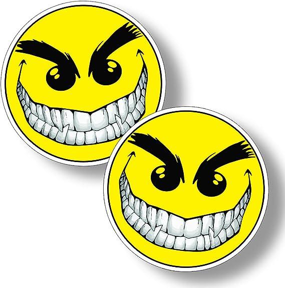 Evil Smiley Happy Face Sticker Cup Cooler Car Window Bumper Laptop Vinyl Decal