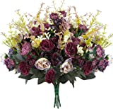 Luyue 7 Branch 21 Heads Artificial Silk Fake Flowers Leaf Rose Wedding Floral Decor Bouquet,Pack of 4 (Purple Coffee)