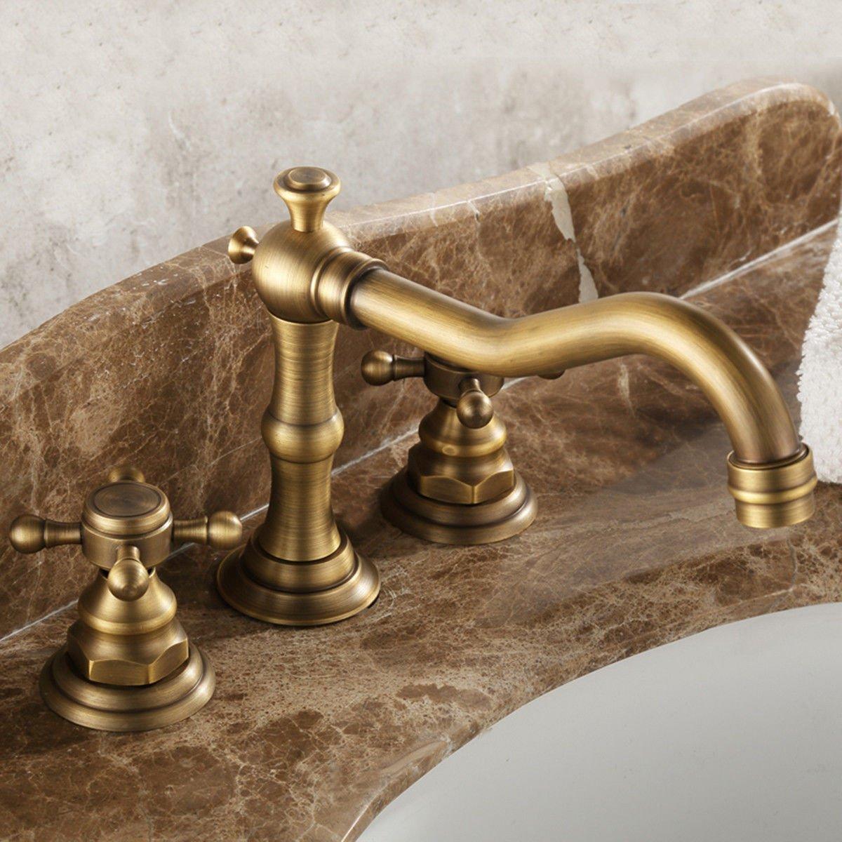 A Hlluya Professional Sink Mixer Tap Kitchen Faucet The tap black Washbasin Faucet antique basin faucet antique brass bathroom hot and cold 3 holes basin bath taps,