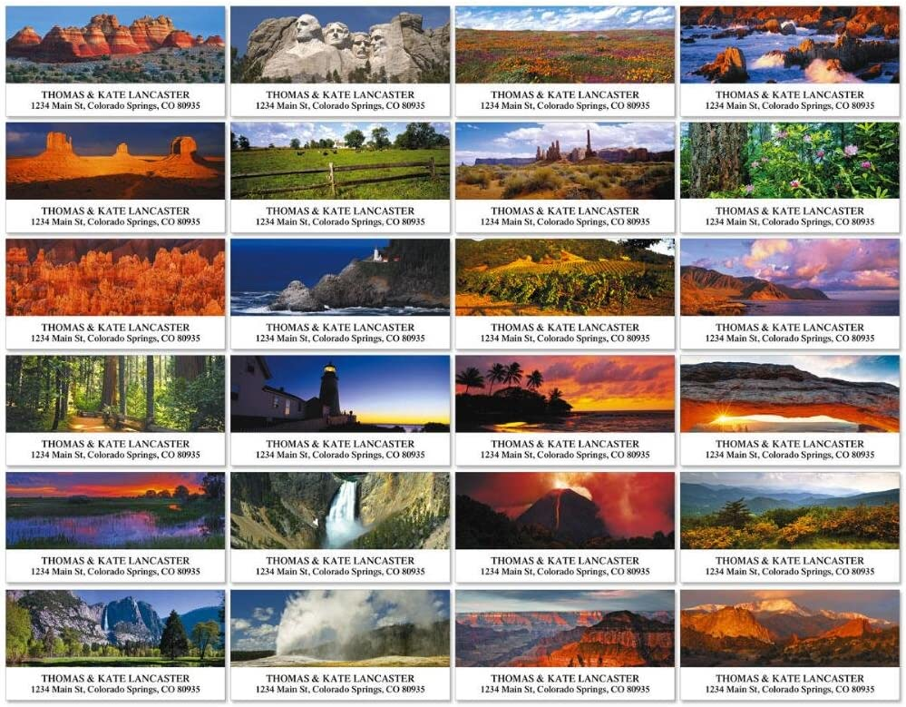 Traveling Across America Self Adhesive 24 Designs Flat Sheet Deluxe Address Labels