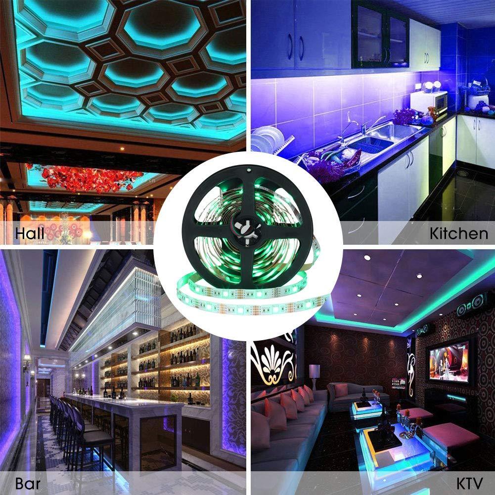 LED Tira de TV, Tiras LED Iluminación 5V 4 metros 120leds 5050 Tira de luz suave coloreada, colorido Luz de fondo de TV con 24 teclas de control remoto IR ...