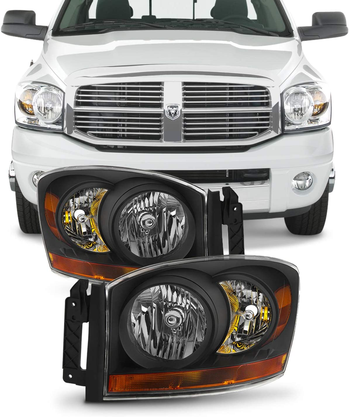 For Black Smoke 06-08 Ram 1500 06-09 Ram 2500 3500 Pickup Truck Headlights Front Lamps Replacement