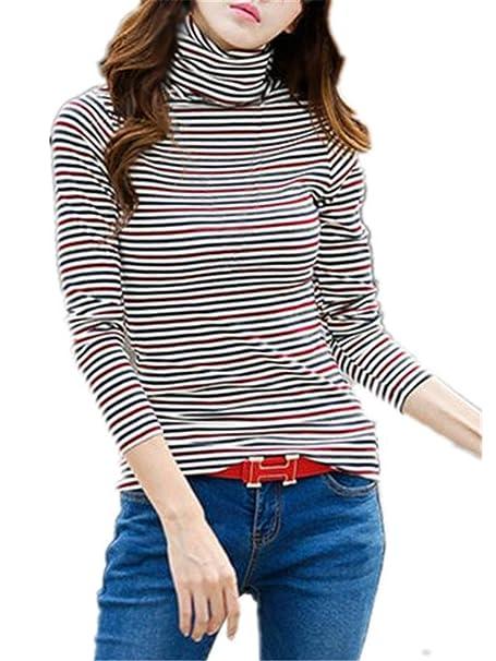 AILIENT Blusa A Rayas Mujer Hipster Cuello Alto Camiseta Mangas Largas Casual Tops Elegante Blouses T Shirt Elegantes: Amazon.es: Ropa y accesorios