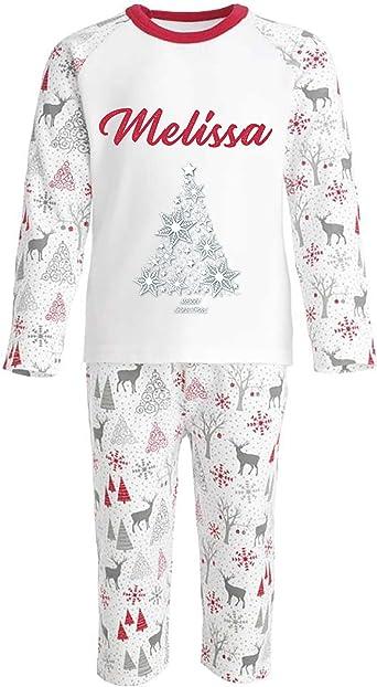 Conjunto de pijama de árbol de copo de nieve personalizado