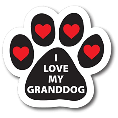 Magnet Me Up I Love My Granddog Pawprint Car Magnet Paw Print Auto Truck Decal Magnet: Automotive