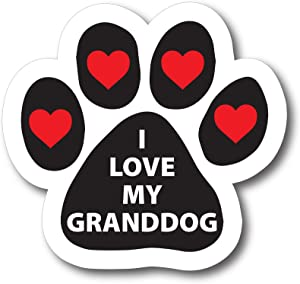 Magnet Me Up I Love My Granddog Pawprint Car Magnet Paw Print Auto Truck Decal Magnet