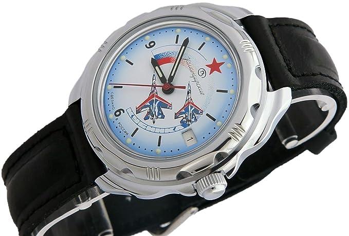 Vostok KOMANDIRSKIE Militar ruso Comandante de Aviación fuerza aérea Ministerio caso reloj blanco 2414/211066: Amazon.es: Relojes