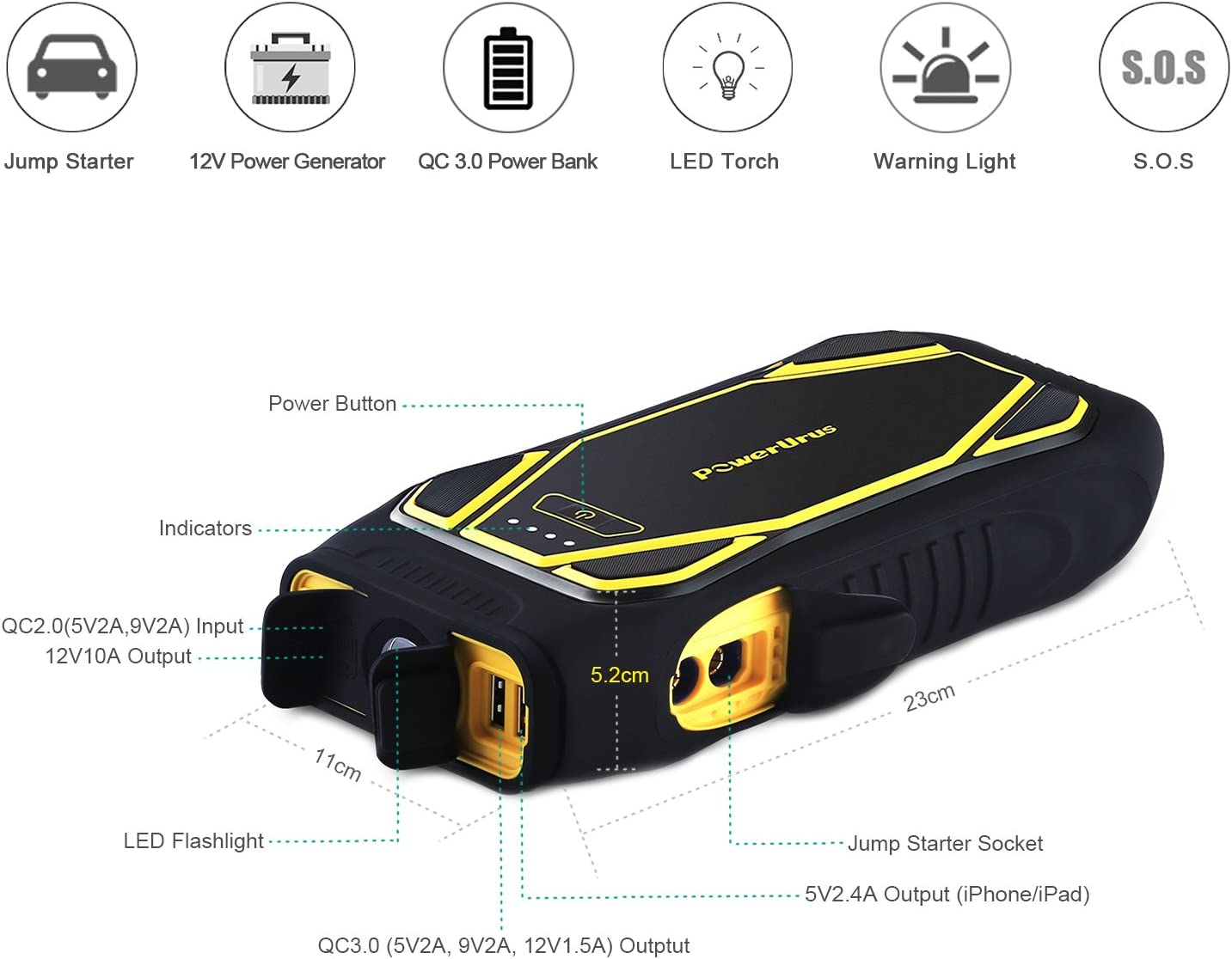 PowerUrus Car Battery Jump Starter 22000mAh IP66 1600A Peak For Auto Engine Up to 10L Gas 6.5L Diesel Quick Charge 3.0 Power Bank with Jump Leads