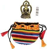 Talisman Buddha Amitabha 4,3 cm aus Messing Glücksbringer mit kleiner Om Mani Padme Hum Mantra-Rolle im Bhutani-Beutel als Begleitset – 3teilig