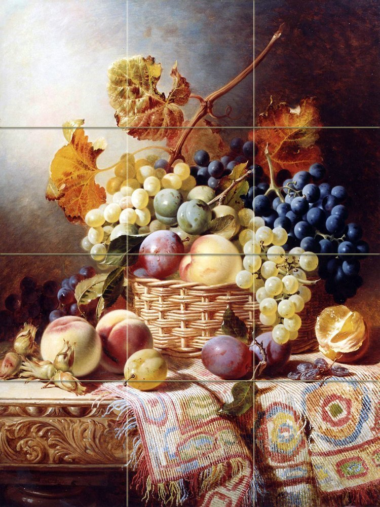 #2 Still Life with Basket of Fruit on a Table with a Rug by William Duffield Tile Mural Kitchen Bathroom Wall Backsplash Behind Stove Range Sink Splashback