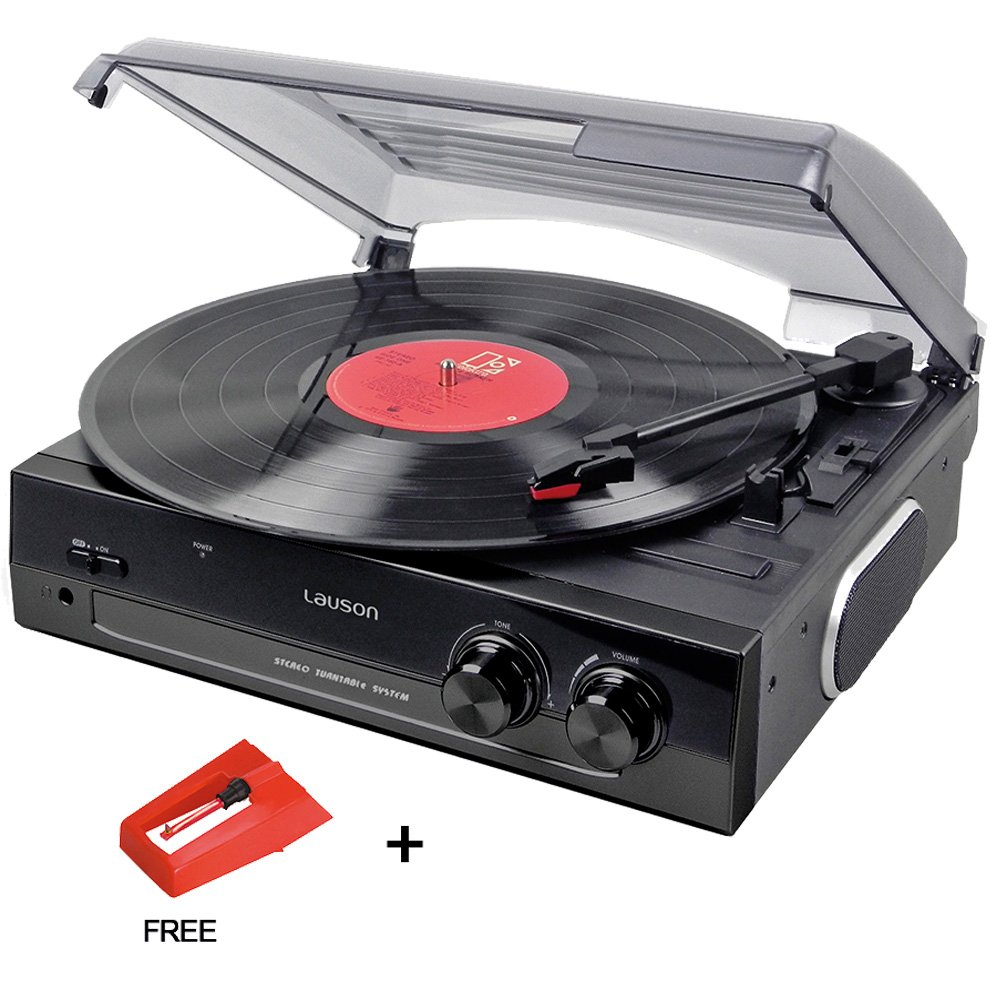 Lauson CL502 Turntable USB, Vinyl-To-MP3, Vinyl Record Player 3 Speed, Stereo Built in Speakers, Belt-driven, Extra Stylus AG101 by Lauson Woodsound