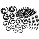 PiercingJ - 21 Paires/Kits Acrylique Boucle Clou d'Oreille Tunnel Conique + Helix Spirale + Plug Ecarteur Expandeur Flesh 2mm - 10mm
