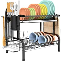 Shop Again Estante de 2 niveles para secar platos de doble piso con escurridor para encimera de cocina, color negro