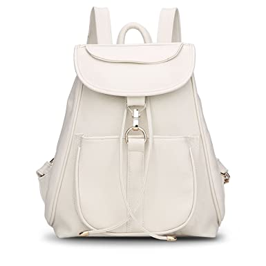 Shelian Vintage Mini Leather Womens Backpack Purses College School Bags White
