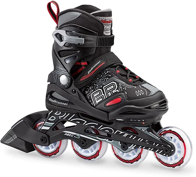 Bladerunner by Rollerblade Phoenix Boys Adjustable Fitness Inline Skate, Black and Red, Junior, Value Performance Inline Skates