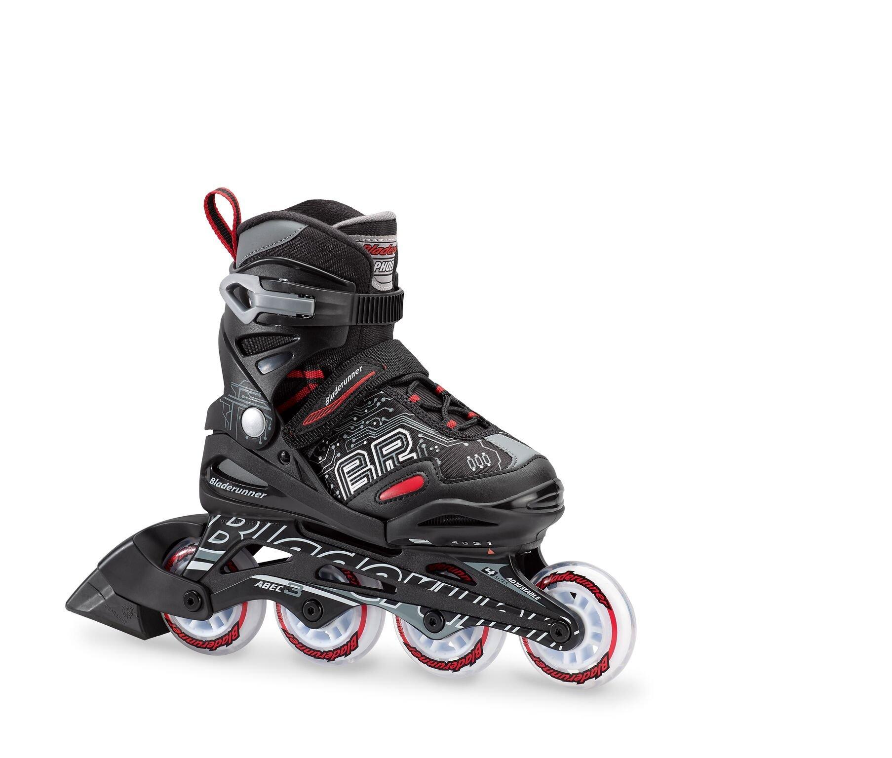 Bladerunner by Rollerblade Phoenix Boys Adjustable Fitness Inline Skate, Black and Red, Junior, Value Performance Inline Skates by Rollerblade