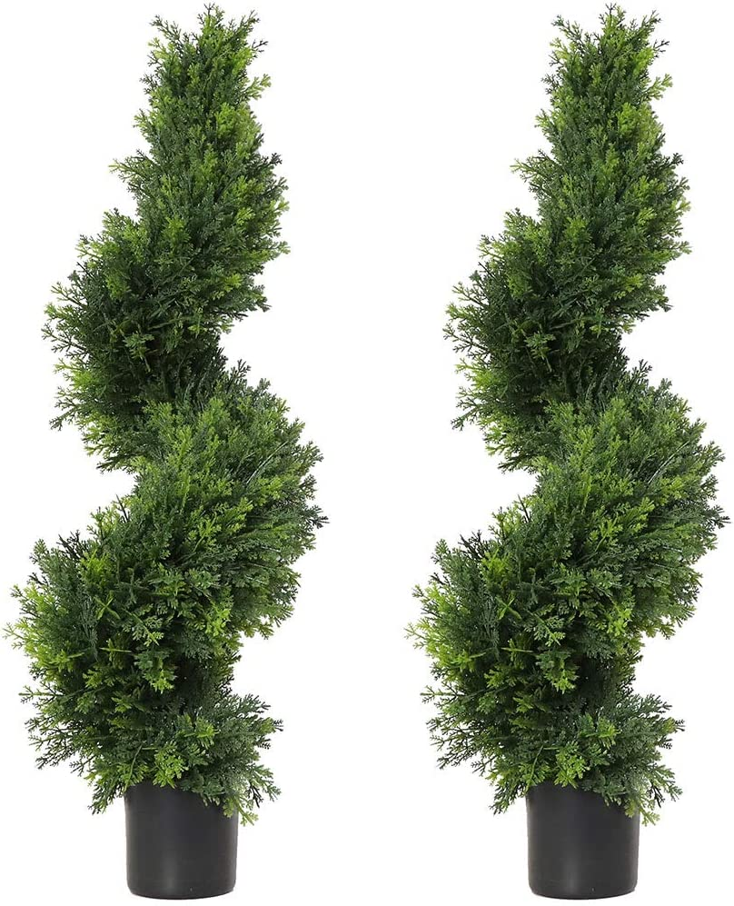 3ft Topiary Trees Artificial Plants Green Spiral Cypress Tree Potted Fake Plant Greenery for Decorative Indoor or Outdoor(35inch) (2 Pieces) -