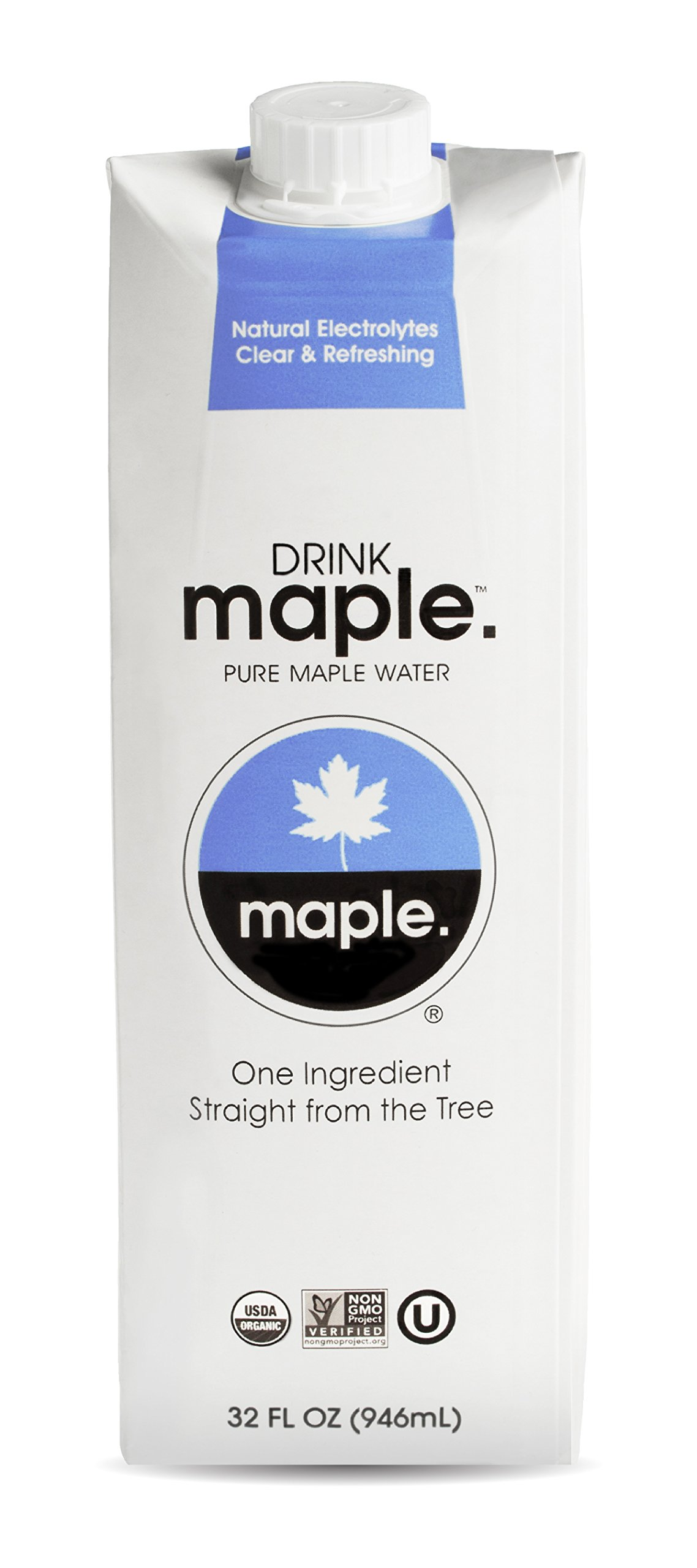 DRINKmaple Maple Water – Organic, Non-GMO, Gluten Free, Vegan Natural Hydration – Low Sugar Coconut Water Alternative – 32 Fluid Ounce (Pack of 12) by DRINKmaple (Image #1)