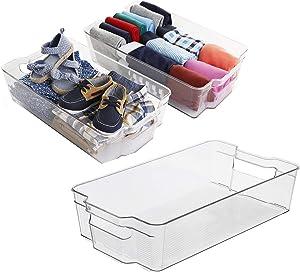 Zeeych Plastic storage bins, Refrigerator Organizer with Handles - Fridge Organizer for Fruit, Yogurt, Snacks, Pasta - Food Safe, BPA Free, Clear(3 Pack) (Large)