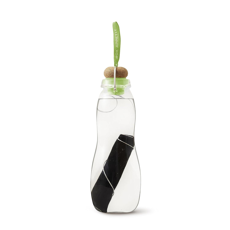 Black & Blum - Wasserkaraffe, Wasserflasch - EAU Good - Farbe: Lime - Glas mit Aktivkohle EGG002