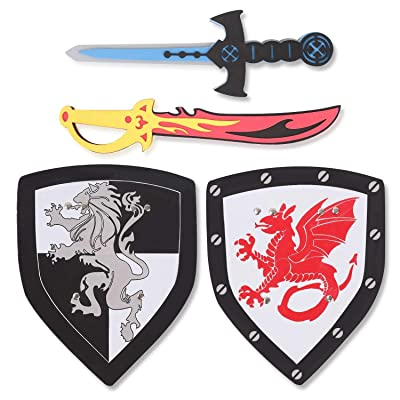 Liberty Imports Dual Foam Sword and Shield Playset - 2 Pack Medieval Combat Ninja Warrior Weapons Costume Role Play Accessories for Kids: Toys & Games