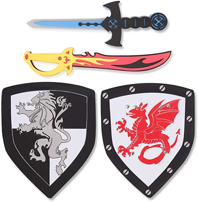 Children/'s disguise toy Arthur Pack Sword and wooden shield to decorate Unicorn Pink