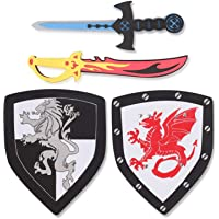 Liberty Imports Dual Foam Sword and Shield Playset - 2 Pack Medieval Combat Ninja Warrior Weapons Costume Role Play…