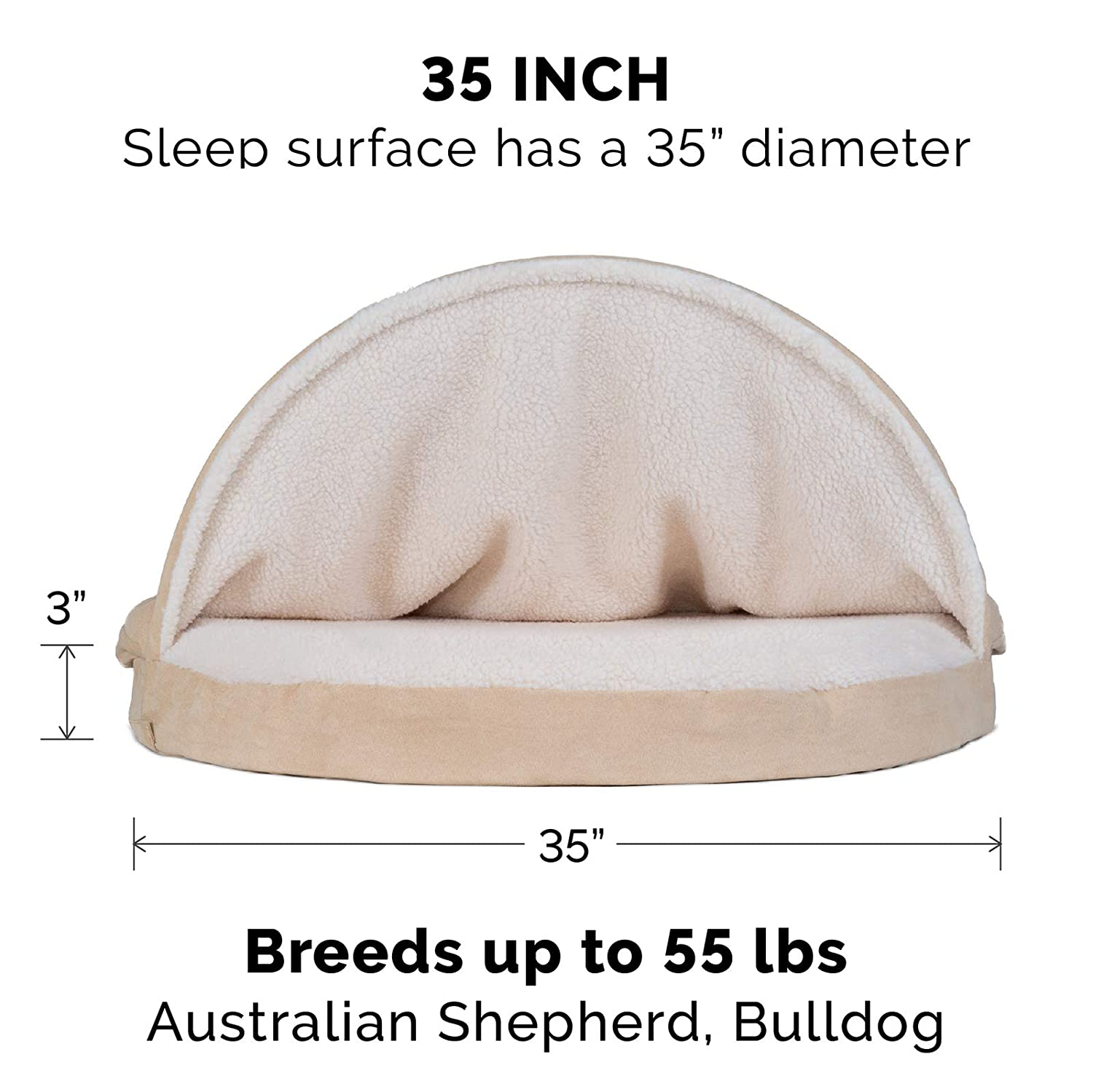 Furhaven Pet Dog Bed Orthopedic Round Cuddle Nest Snuggery Burrow Blanket Pet Bed for Dogs Cats – Available in Multiple Colors Styles