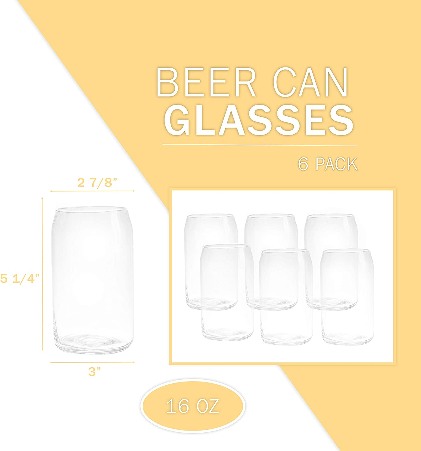 6 Beer Can Glass Cups 16 oz Can Shaped Drinkware Beer Glasses ...